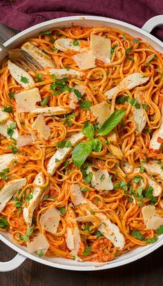Creamy Roasted Red Pepper Pasta with Grilled Chicken | Cooking Classy