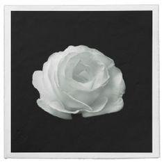 http://www.zazzle.com/white_rose_on_black_background_napkins-256111413097433353?rf=238703308182705739 white Rose On Black Background Napkins