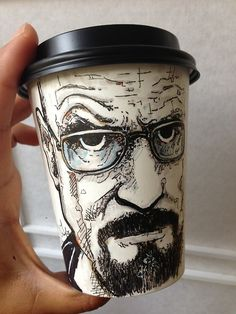 Paper Coffee Cup Art - Walter White from Breaking Bad  (11 more here: http://twentytwowords.com/2014/01/22/using-markers-and-disposable-coffee-cups-this-artist-provides-blankets-and-more-to-homeless-kids-12-pics/)