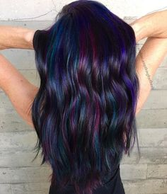 mermaid hair Oil Slick Hair Is the Most Gorgeous Rainbow Hair Color Trend for Brunettes # Hair Color For Black Hair, Oil Slick Hair Color, White Hair, Raven Hair Color, Unique Hair Color, Fun Hair Color, Ombre Hair, Hair Dye, Dyed Hair