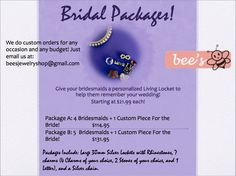 Bridal Packages for Origami Owl like Living Lockets. Perfect present for your Bridesmaids!  Wedding Ideas/Wedding Gifts