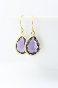 Amethyst / Gold Teardrop Earring and Round Bracelet by ForTheMaids