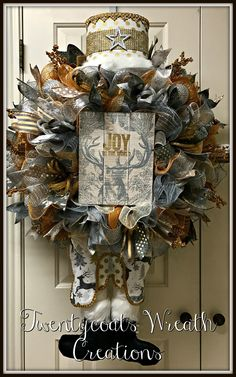 Silver and gold nutcracker deco mesh wreath by Twentycoats Wreath Creations (2016