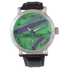 Personalized Watch Green Blue Design #zazzle #jewelry #accessories #gifts