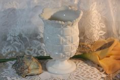 1970\'s Westmoreland Milk Glass Quilted Vase. Starting at $20