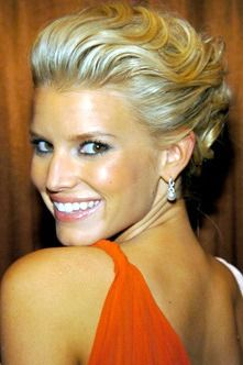 Jessica Simpson updo orange dress. I will forever love this hair.