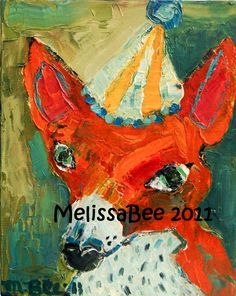 Art - Orange Fox with Hat painting by Melissa Bee