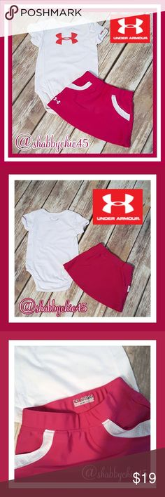 Under Armour Onsie & Tennis Skirt w/Pockets EUC Adorn your next tennis star in style with this super cute onsie and skirt from Under Armour. This set is in like new condition with no stains, holes or tears. She'll be ready to go to Wimbledon in no time once she has dressed for the part!   Smoke free/dog friendly home. Reasonable offers considered. Under Armour Matching Sets