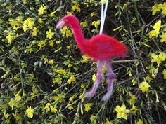Flamingo, Needle, Felted, Home Decor, Gift, Ornament, Christmas Decoration, Yuletide, Xmas, Handmade, Pink, Hanging Decoration, Wall Art by DecadentAndFabulous on Etsy
