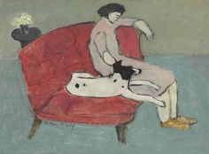 Seated Woman with Dog, 1936  Milton Avery (1885 - 1965)