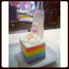 Rainbow cake with pink soda