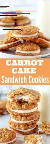 Carrot Cake Sandwich Cookies - Tender oatmeal cookies filled with cinnamon, grated carrots, coconut and walnuts, filled with cream cheese frosting. (sugar cookies with frosting products) Cookie Desserts, Just Desserts, Cookie Recipes, Delicious Desserts, Dessert Recipes, Yummy Food, Cookie Cakes, Easter Desserts, Vegan Desserts