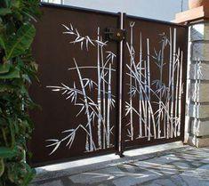 compound wall gate designs using cnc cutting Front Gate Design, Main Gate Design, House Gate Design, Door Gate Design, Fence Design, Metal Gates, Wrought Iron Gates, Front Gates, Entrance Gates