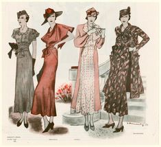 """Clothing designs by Marcelle Dormoy, Edward Molyneux, Coco Chanel and Mainbocher; hat by the milliner Madame Agnès. Written on border: """"May 1933""""  From Good housekeeping."""