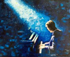 Ryan Gosling on the piano. Painting by Chelsey Reynolds.