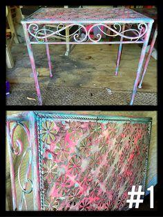 Rustic distressed metal end tables
