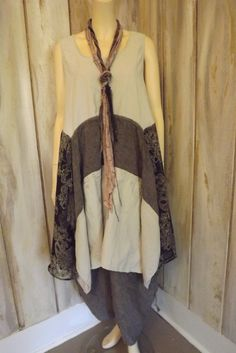 Lagenlook Linen Cotton Linen Boho Funky Long Flowing Assymetric Hem Tunic Upcycled Eco Fashion One Size S-XL