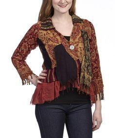 Loving this Black & Rust Collage Wool Jacket on #zulily! #zulilyfinds