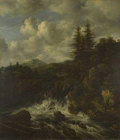 Jacob van Ruisdael - Landschap met een waterval en een kasteel op een heuvel