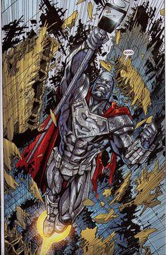 Steel Chris Batista (Pencils) Keith Giffen (Breakdowns) Rodney Ramos & Dan Green (Inks) Story by Johns, Morrison, Rucka & Waid Steel Dc, Iron Steel, Man Of Steel, Dc Heroes, Comic Book Heroes, Comic Books Art, Arte Dc Comics, Val Zod, Spider Man