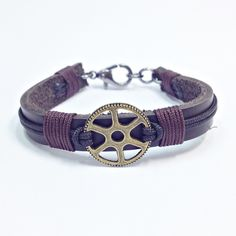 Pulseira masculina de couro engrenagem vintage mens bracelets bracelete moda fashion style pulseiras masculinas