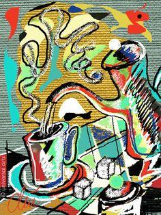 JACQUELINE DITT - Coffeebreak limitiert Original Grafik signiert Druck Bilder