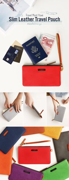 Check out this charming and smart Slim Leather Travel Pouch! It's got 4 card pockets for you to store ID, credit cards, transportation cards and more! Store your bills in the bill compartment and keep all your items such as passport, tickets, memos and notes in the the spacious main compartment! The entire pouch can be securely closed with the zipper closure. This is a great travel pouch to keep your travel simple, easy and organized!