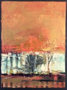 """Daily Painters Abstract Gallery: Abstract Mixed Media,Landscape Art Painting, """"Solitary Life"""" by Intuitive Artist Joan Fullerton"""