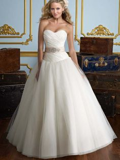 Ball Gown Sweetheart Beading Organza Sweep Train Wedding Dress at Millybridal.com