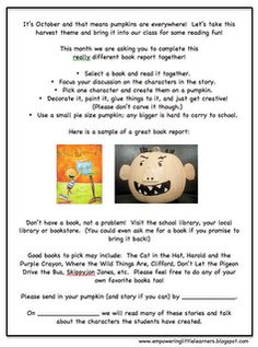 Pumpkin Character Book Reports Freebie!