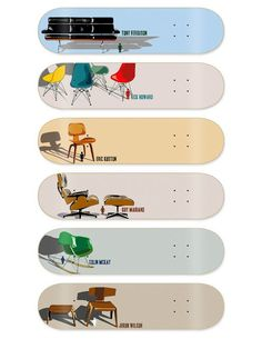 Eames chairs on skateboard decks Skateboard Deck Art, Skateboard Design, Skateboard Companies, Eric Koston, Snowboard Girl, Skate Art, Guy, Eames Chairs, Desk Chairs