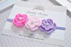 Crochet Flower Headband, Pink and Purple Flower Headband, Little Girl Crochet Hair Accessory, Baby Headband, Toddler Headband, Girl Headband by SpunkyBunnyBoutique on Etsy