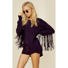 One Teaspoon Fringed Knit Sweater ($208) ❤ liked on Polyvore featuring tops, sweaters, black, knit fringe sweater, crewneck sweaters, chunky knit sweater, knit sweater and asymmetrical hem top