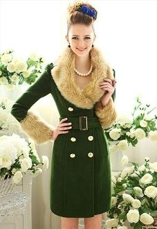 Army Green Double-breasted Woollen Coat