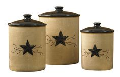 From Country Porch Home Decor...The Star Vine Canister set of 3 has a fantastic primitive look! Star Vine Ceramics are hand painted and combine a sponged background with embossed star and vine detail to create this classic pattern. Made of quality high fired dolomite, ceramics are dishwasher and microwave safe. Coordinate with all of our Star Vine Ceramics and our popular primitive kitchen decorating patterns. Be sure and check out all the Country Primitive Style Window Curtai