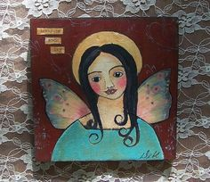 Inspirational Folk Art Angel Original Mixed Media by Debidoodah, $48.00
