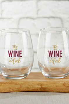 This wine glass favor features a beautiful gold and burgundy design with a super fun staying. This great glassware favor can be filled with you or your guests' favorite beverages to create a great housewarming or thank you gift. | It's Wine O' Clock 15 oz Stemless Wine Glass | My Wedding Favors