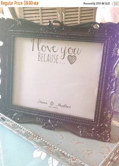 "ON SALE 10x8 Personalized ""I Love You Because..."" Digital wall art print"