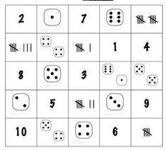 Math bingo with dice. Two colors for partners Math Bingo, Fun Math, Maths, Numbers Kindergarten, Math Numbers, Decomposing Numbers, Kindergarten Centers, Math Stations, Math Centers