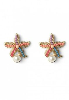 Starfish Earrings with Pearl Decor  $18