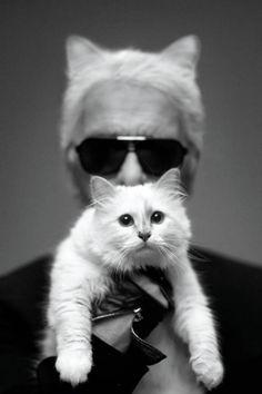 Karl Lagerfeld and Choupette, April 2014 - Harper's BAZAAR Magazine