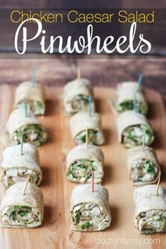 Easy Chicken Caesar Salad Pinwheels recipe - a family-friendly quick meal or party appetizer
