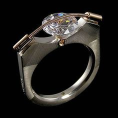 Idée et inspiration Bague Diamant :   Image   Description   9mm Tension Ring, T Plodowski, Tomasz Plodowski, Jewelry, Sterling Silver 14KT Gold $375