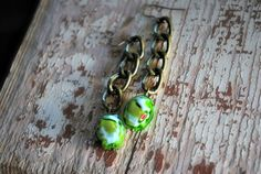 Green Murano Glass Earrings on Vintage Links by letemendia on Etsy, $39.00