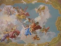 fresco- painting done rapidly in watercolor on wet plaster on a wall or ceiling, so that the colors penetrate the plaster and become fixed as it dries. Ceiling Painting, Ceiling Murals, Mural Painting, Fresco, Mycenaean, Novelty Bags, Facts For Kids, Renaissance Paintings, Colourful Outfits