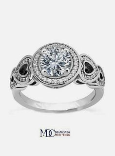 Diamond Engagement Ring Double Open Hearts in White Gold