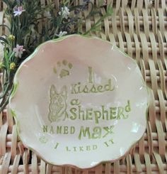 I Kissed a Dog Customized and Personalized  Stoneware Bowls 37 Breeds Available Free Shipping by LaurelArts