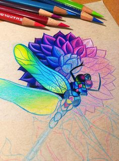 Dragonfly and Dahlia - WIP by dannii-jo on DeviantArt Cool Pencil Drawings, Colorful Drawings, Animal Drawings, Tenacious D, Black Paper Drawing, Jobs In Art, Color Pencil Art, Chalk Pencil, Colored Pencil Techniques
