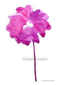 Abstract Watercolor Art Print Radiance fuchsia by karenfaulknerart, $20.00