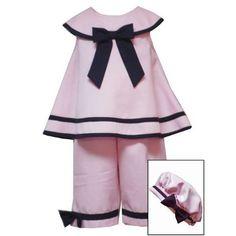 Rare Editions Baby-girls Newborn Nautical Capri Set, Pink/Navy, 6 Months